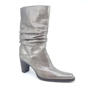 Stuart Weitzman Gold Leather Heeled Slouch Boots
